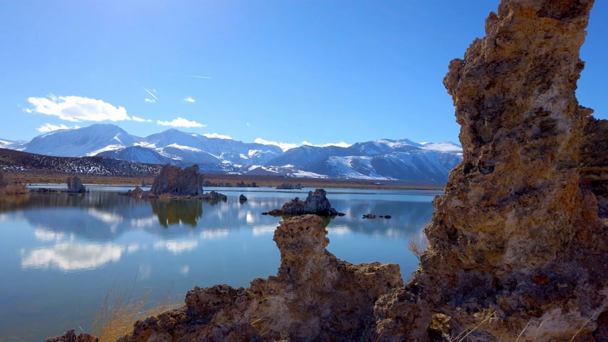 garip : Tufa towers columns of limestone at Mono Lake in California - travel photography