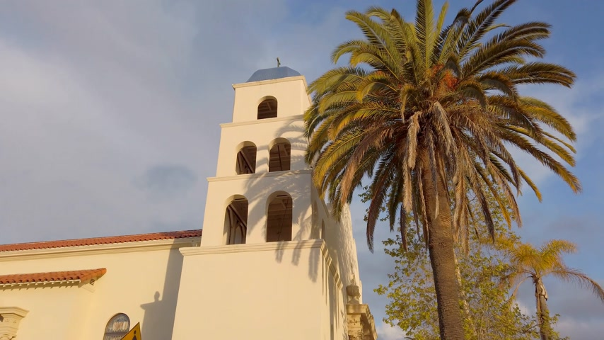 the conception : Catholic Church at Old Town San Diego - travel photography Stock Footage