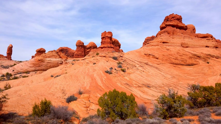 erozyon : Driving through Arches National Park - travel photography Stok Video