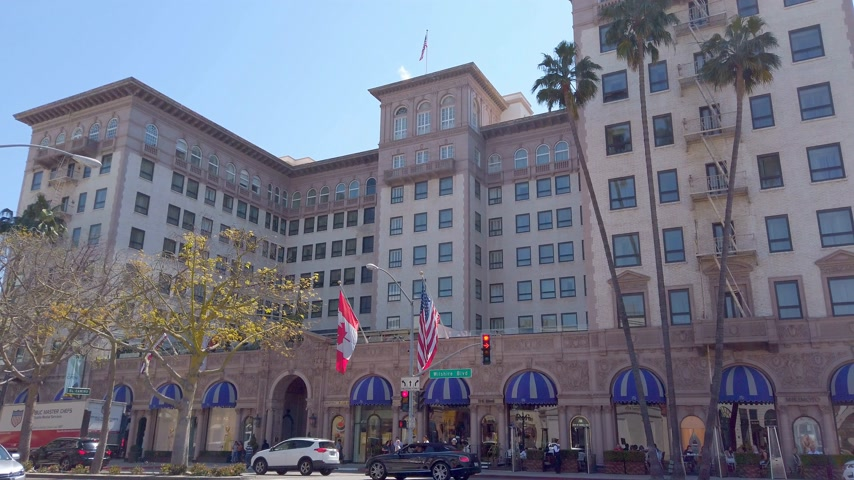 car designer : Beverly Wilshire Hotel in Beverly Hills - LOS ANGELES, USA - APRIL 1, 2019 Stock Footage