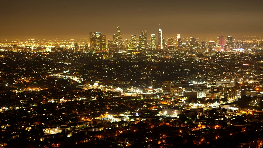 poz : Time lapse shot of the city of Los Angeles by night Stok Video