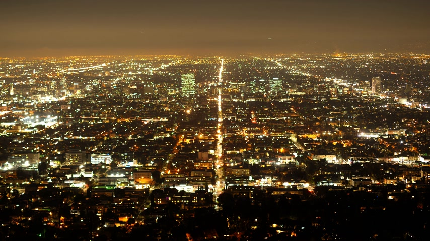 américa central : Time lapse shot of the city of Los Angeles by night Vídeos