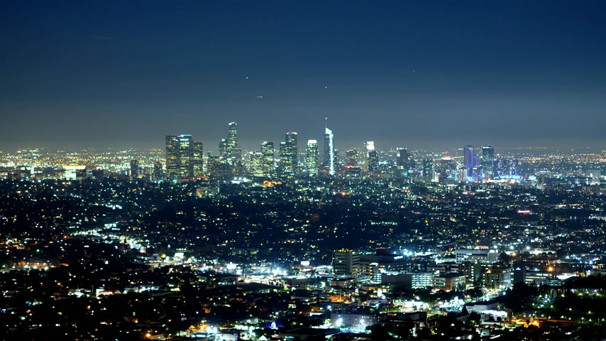 los angeles skyline : Time lapse shot of the city of Los Angeles by night Stock Footage