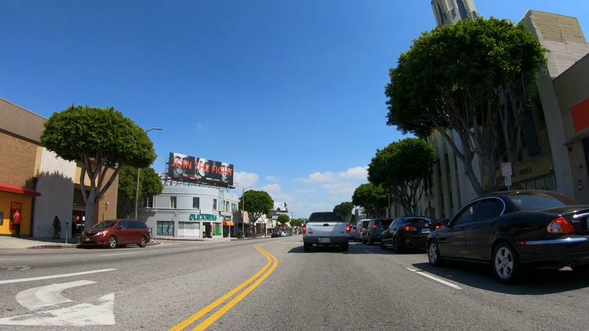 sight seeing : Driving through Beverly Hills in Los Angeles - LOS ANGELES. USA - MARCH 18, 2019 Stock Footage