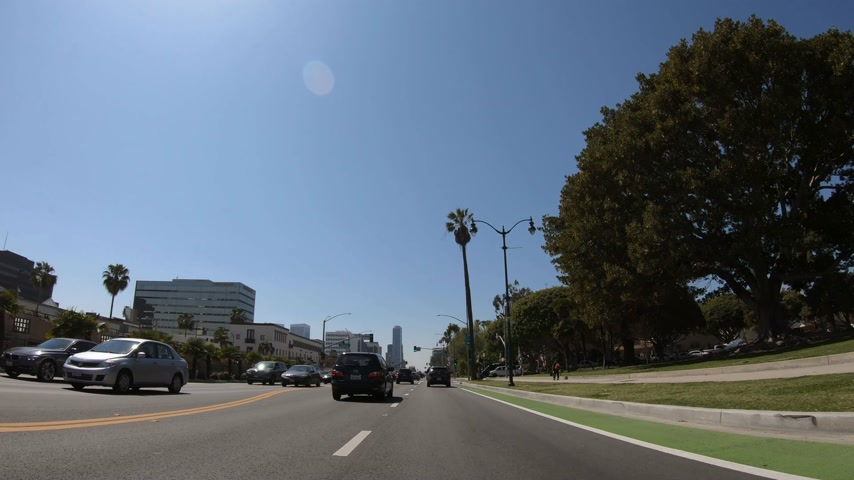 sight seeing : Beverly Hills POV drive - LOS ANGELES. USA - MARCH 18, 2019 Stock Footage