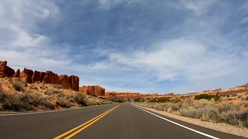 salie : POV Drive in Snow Canyon in Utah Stockvideo
