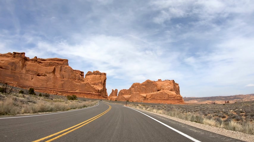 drive through : Drive through Arches National Park in Utah