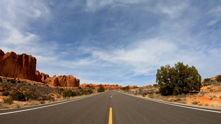 cold desert : Road trip at Snow Canyon in Utah Stock Footage