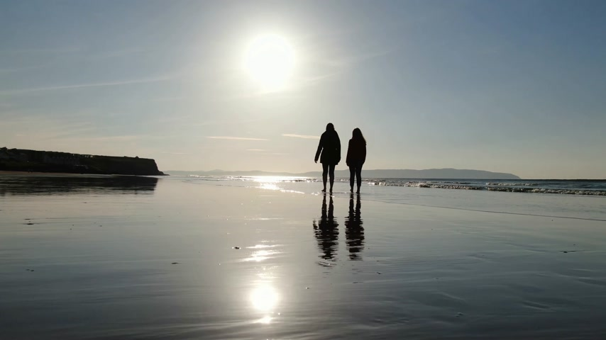 エアリアル : Walking on Castlerock Beach at sunset