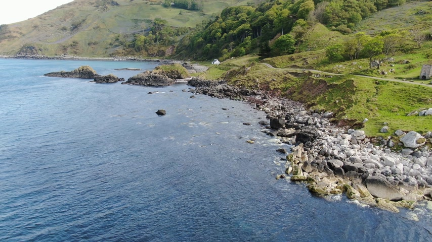 north bay : Murlough Bay in North Ireland - aerial view Stock Footage