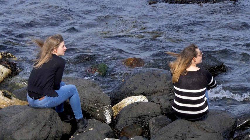 прядь : Two girls sit on the rocks at the Causeway Coast in Northern Ireland Стоковые видеозаписи