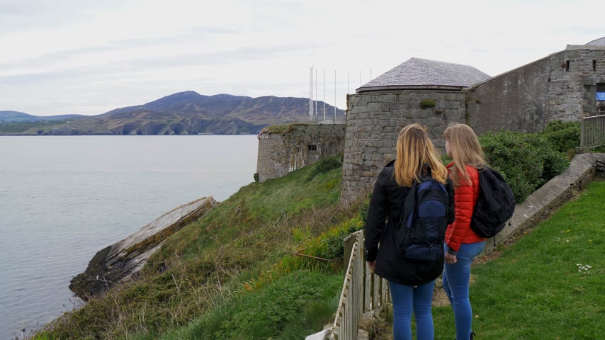north bay : Two young women visit Fort Dunree in Ireland
