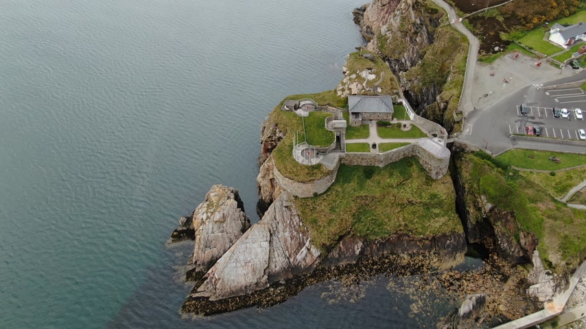 head over : Aerial view over Fort Dunree in Ireland