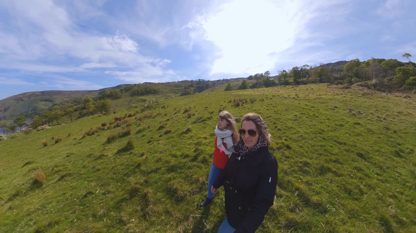 eire : Two girls have fun with a 360 degree camera