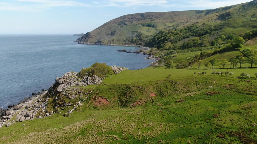 irsko : Wonderful Murlough Bay in North Ireland - aerial view Dostupné videozáznamy