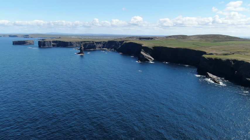 eire : Loop Head at County Clare in Ireland - aerial drone footage