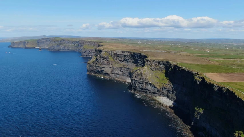 eire : Flight along the famous Cliffs of Moher in Ireland