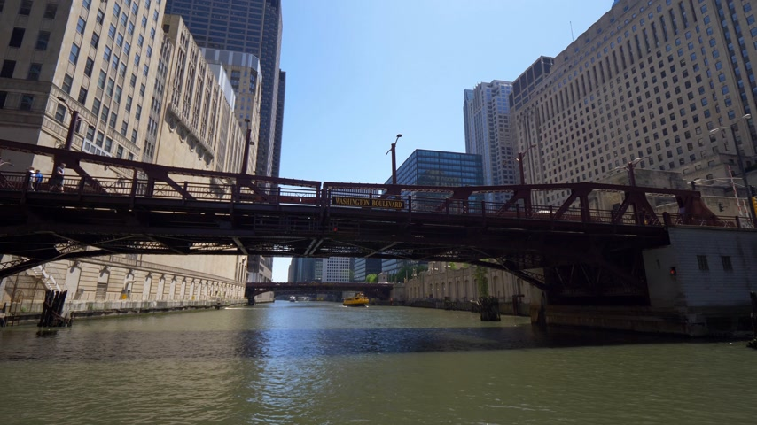 ミシガン州 : Chicago River on a sunny day - CHICAGO. UNITED STATES - JUNE 11, 2019 動画素材