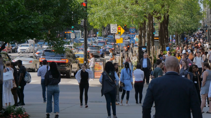 июнь : The Magnificent Mile in Chicago is a crowded place - CHICAGO, UNITED STATES - JUNE 11, 2019 Стоковые видеозаписи