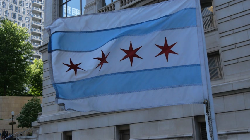 июнь : The flag of Chicago waving in the wind - CHICAGO, UNITED STATES - JUNE 11, 2019