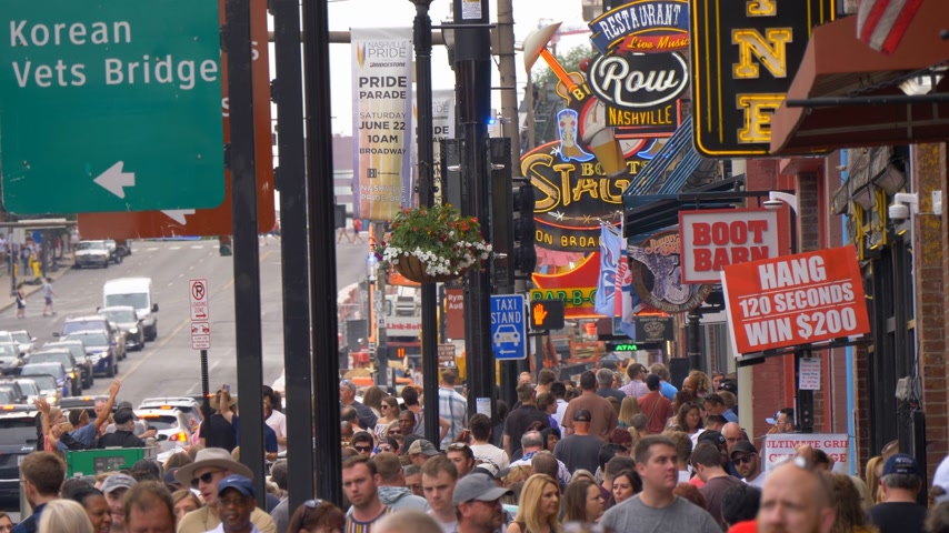 brodway : Nashville Broadway is the most popular place in the city - NASHVILLE, UNITED STATES - JUNE 16, 2019