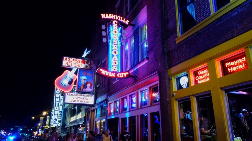 brodway : Walking over Broadway in Nashville by night - NASHVILLE, USA - JUNE 16, 2019