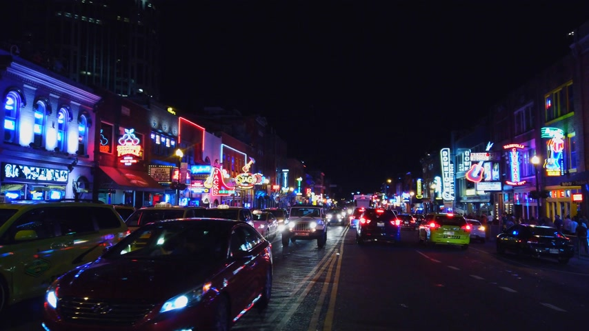 brodway : Colorful Nashville Broadway at night - a big party zone - NASHVILLE, USA - JUNE 16, 2019