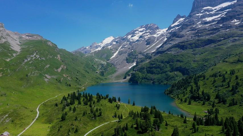 picturesque view : The turquoise blue water of the Swiss lakes - wonderful nature of Switzerland