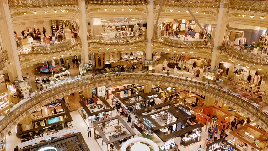 eiffel : Famous Galleries Lafayette shopping center in Paris - PARIS, FRANCE - JULY 29, 2019