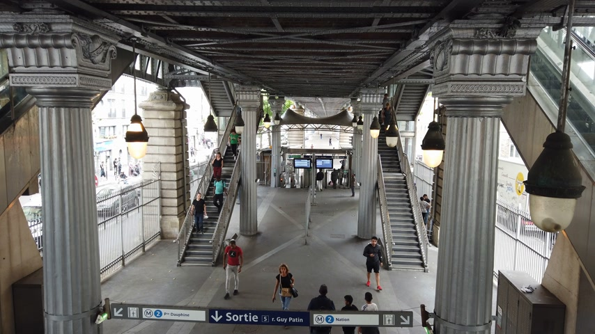 french metro : Beautiful Metro station in Paris - PARIS, FRANCE - JULY 29, 2019