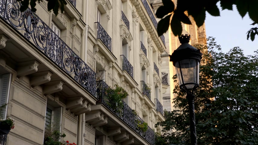 parisian : Typical house facade in Paris France Stock Footage