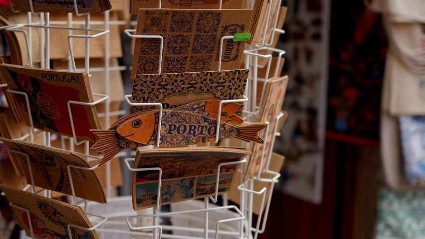 portugál : Postcards from Porto at a souvenir shop - CITY OF PORTO, PORTUGAL - SEPTEMBER 18, 2019