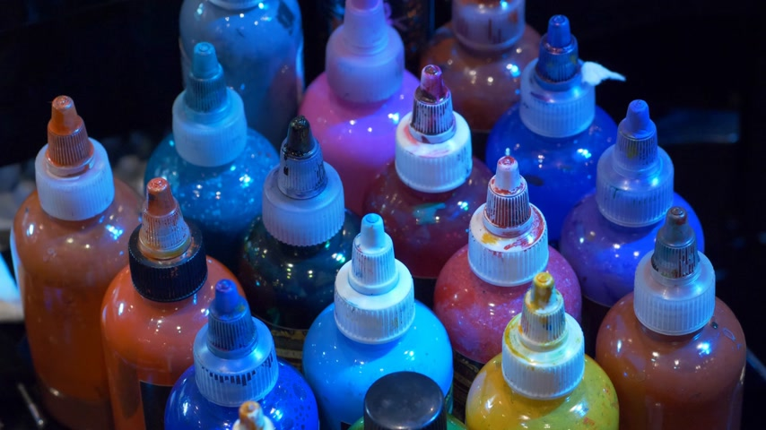 delici : Color ink bottles at a Tattoo studio