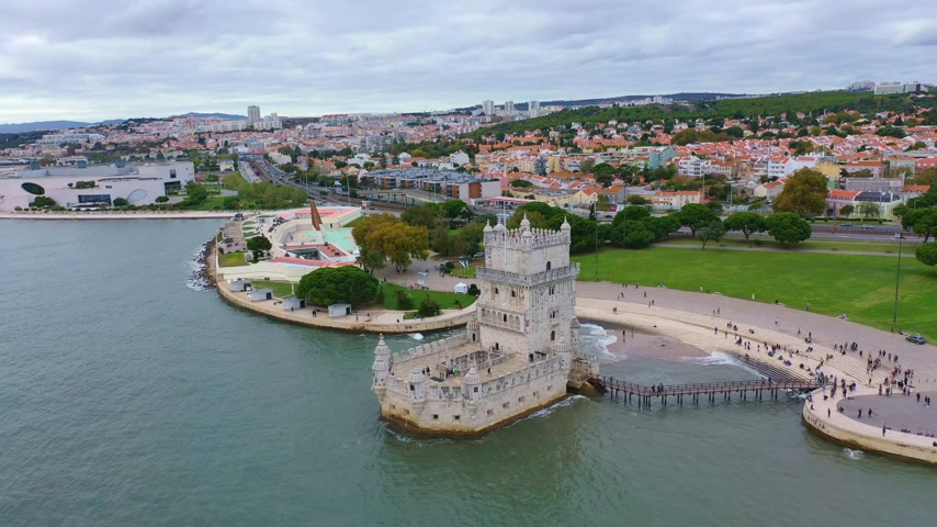 belem : Amazing view over Belem Tower in Lisbon Portugal Stock Footage
