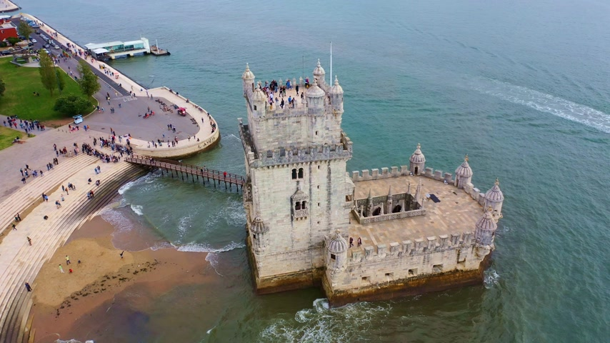 lisboa : Flight around famous Belem Tower in Lisbon