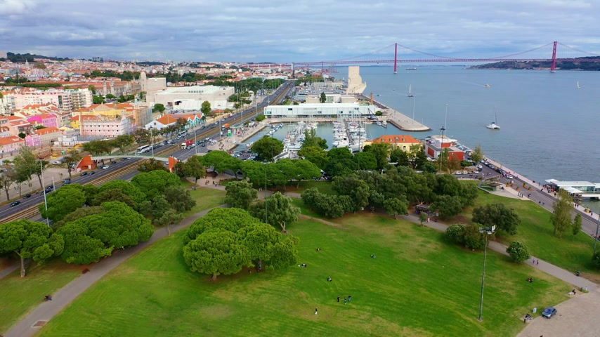belem : Lisbon from above aerial view over Belem and Tagus River Stock Footage