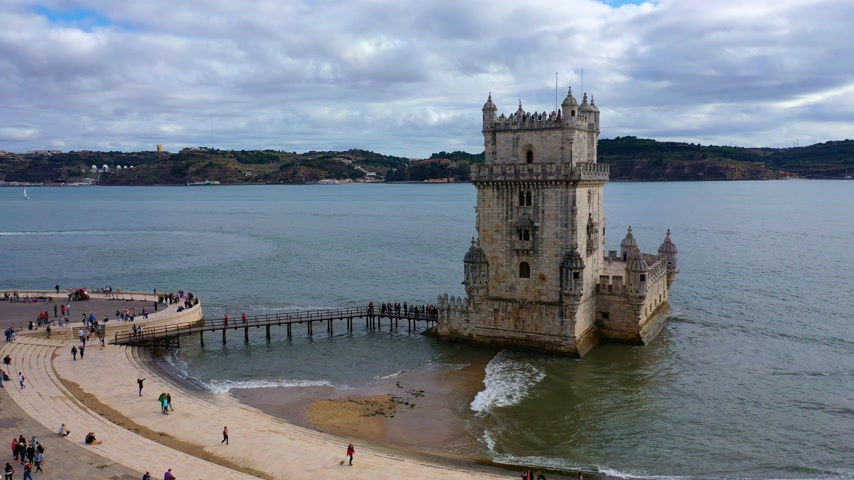belem : Most important landmark in Lisbon . The Tower of Belem from above