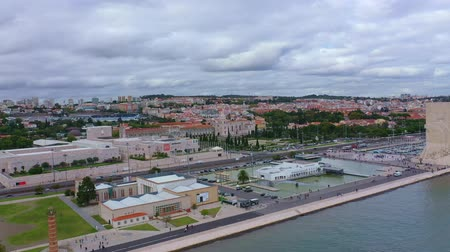 belem : Aerial view over the Tejo riverfront and harbor Stock Footage