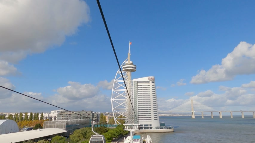 эксклюзивный : Teleferic Cable Car in Lisbon park of Nations - CITY OF LISBON, PORTUGAL - NOVEMBER 5, 2019