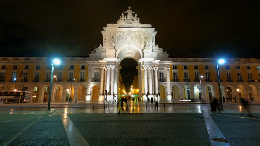 lisboa : City of Lisbon by night - timelapse shot Vídeos