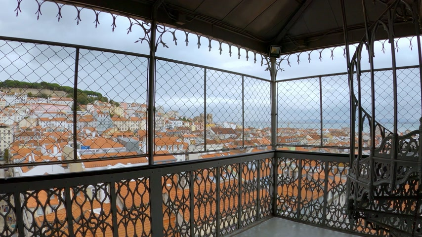 red centre : Amazing Santa Justa Elevator in Lisbon Stock Footage