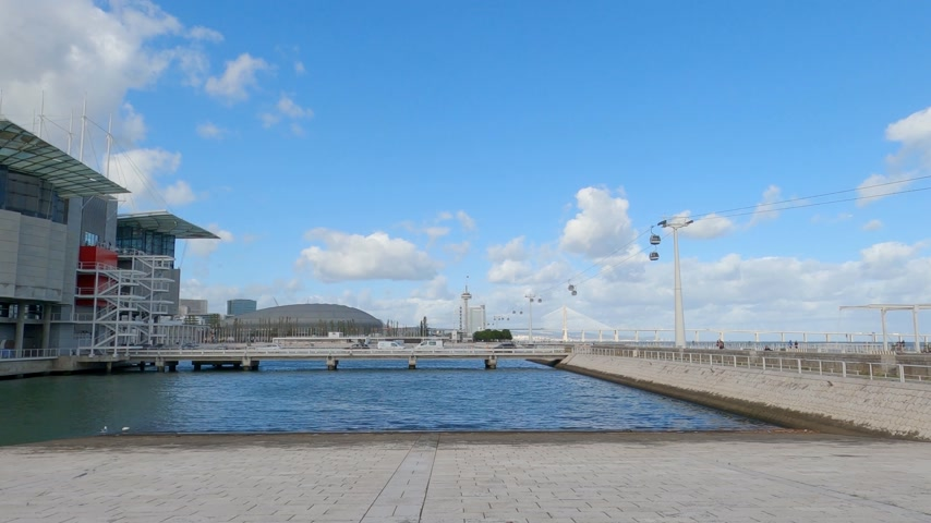 экспозиция : park of Nations at Expo district in Lisbon - CITY OF LISBON, PORTUGAL - NOVEMBER 5, 2019
