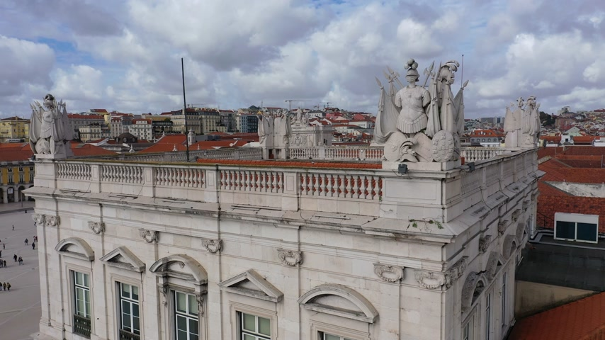 národní památka : Amazing architecture at Commerce Square Lisbon - the famous Praca do Comercio from above