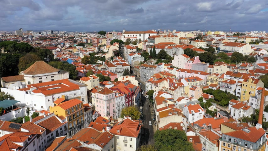 alfama : Alfama hill in Lisbon from above Stock Footage