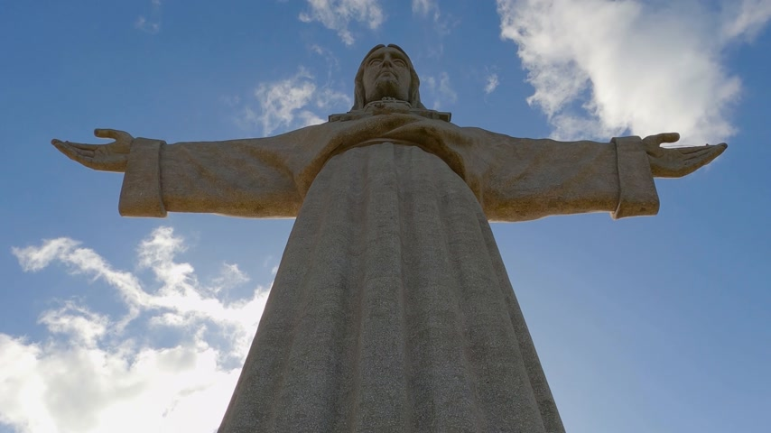 megváltás : Christ statue on the hill of Lisbon Almada called Cristo Rei