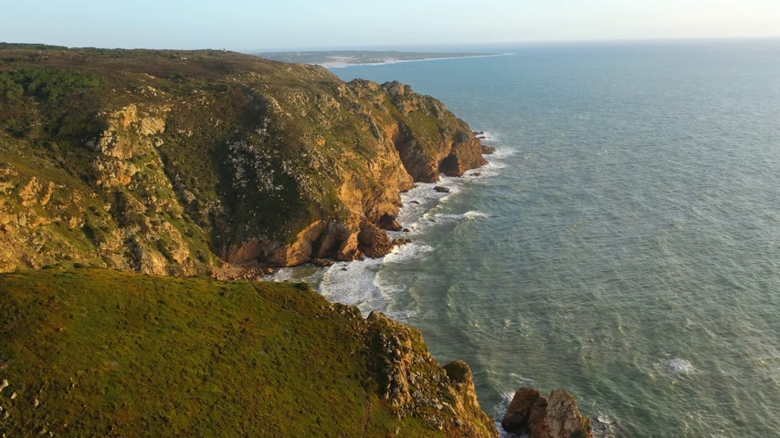 lizbona : Cape Roca at Sintra Natural Park oceanfront - aerial view Wideo
