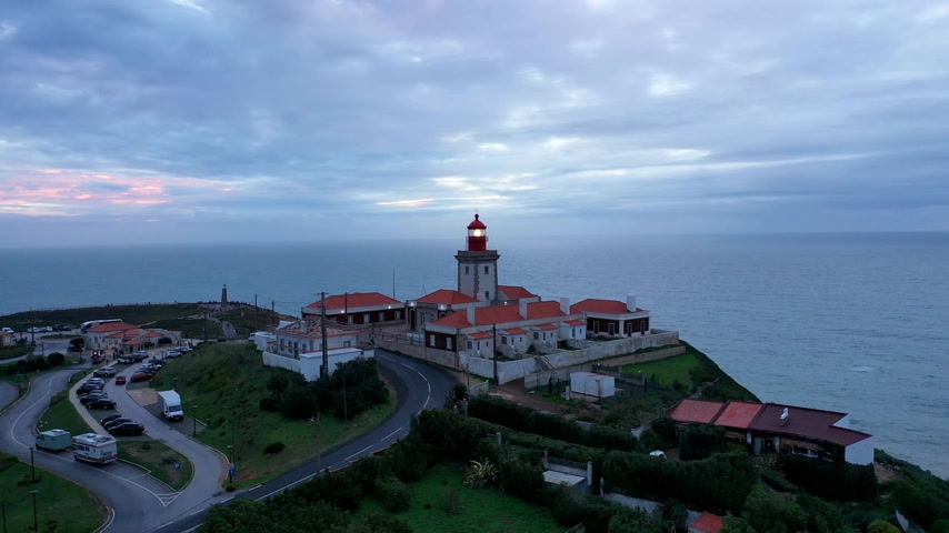 lizbona : The lighthouse of Cape Roca in Portugal called Cabo da Roca - aerial view