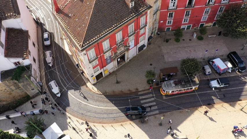 alfama : The tram cars in Lisbon from above