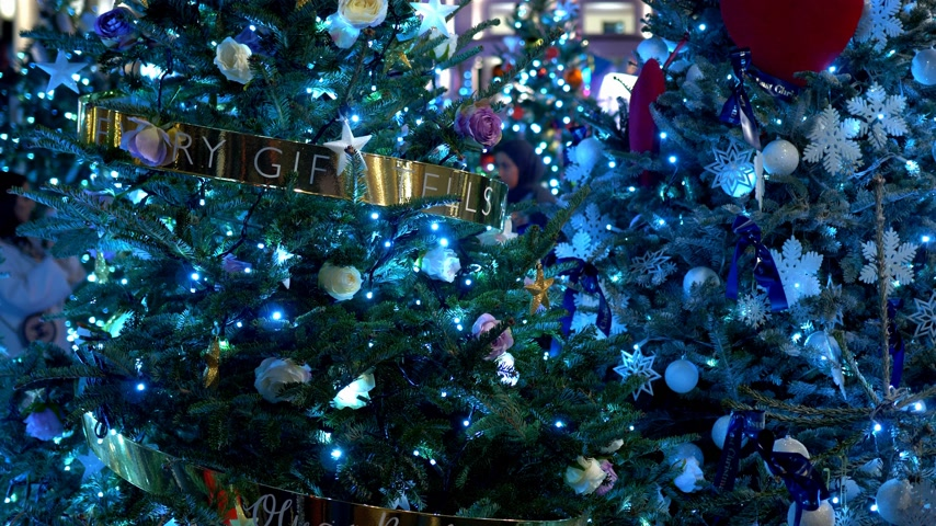 street market : blue Christmas decoration at Covent Garden in London Stock Footage