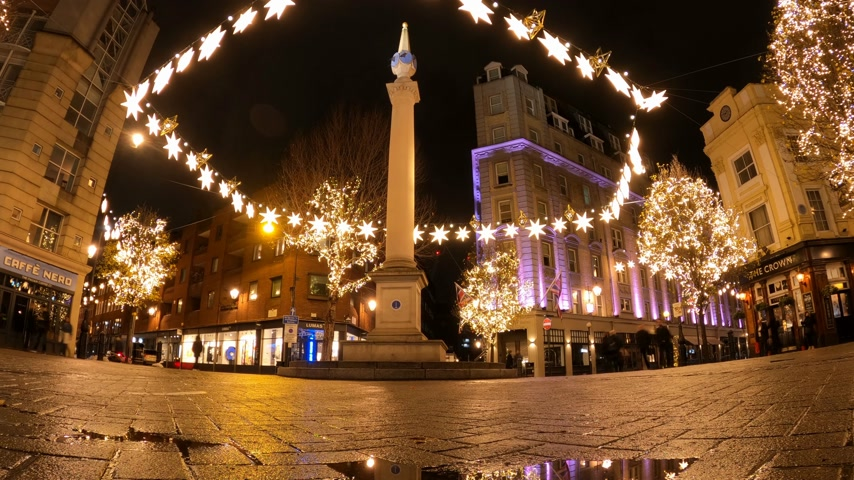 londýn : Seven Dials London - night Timelapse